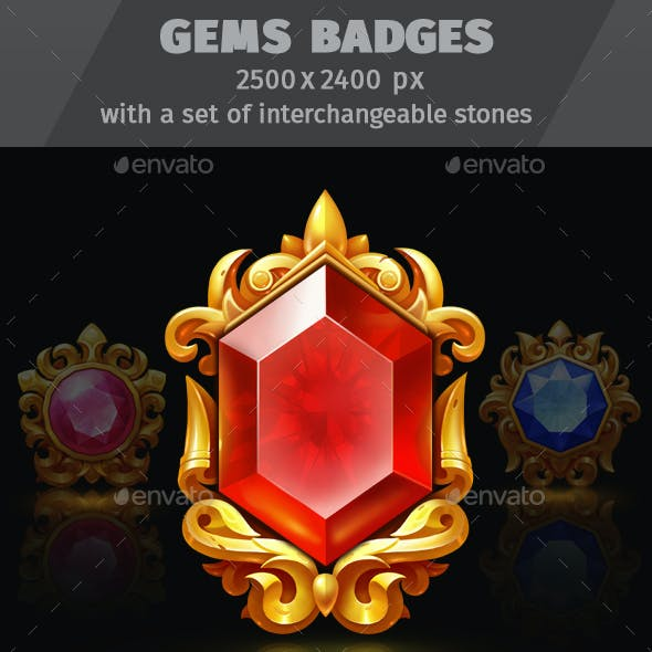 Gems Badges with a Set of Interchangeable Stones