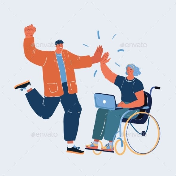 Vector Illustration of Man and Woman on Whellchair