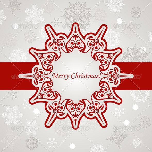 Vector Christmas Greeting Card with Snowflakes - Christmas Seasons/Holidays
