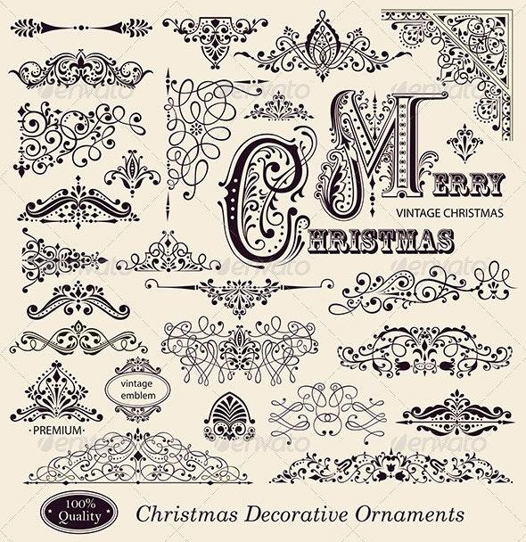 Vector set of Vintage Christmas Ornaments - Borders Decorative