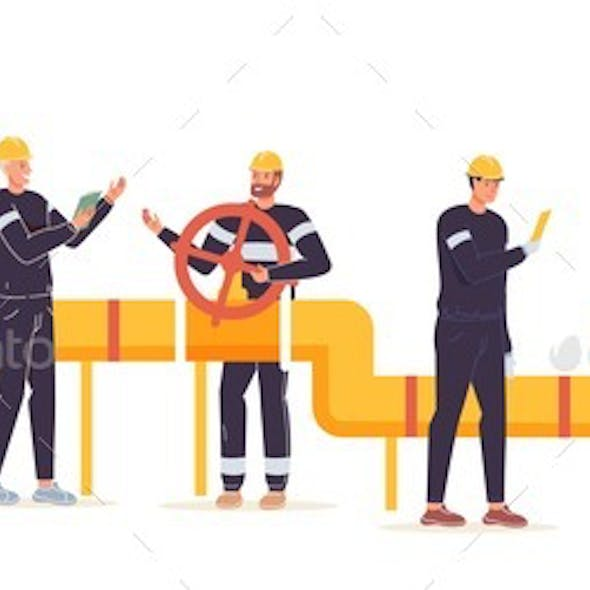 Flat Cartoon Industrial Workers Characters at Gas