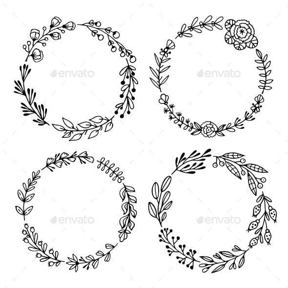 Set of Black Handdrawn Wreaths on White