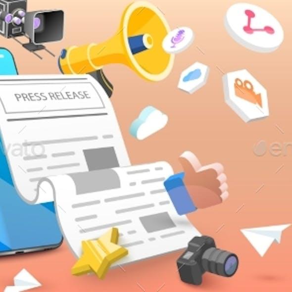 3D Vector Conceptual Illustration of Press Release