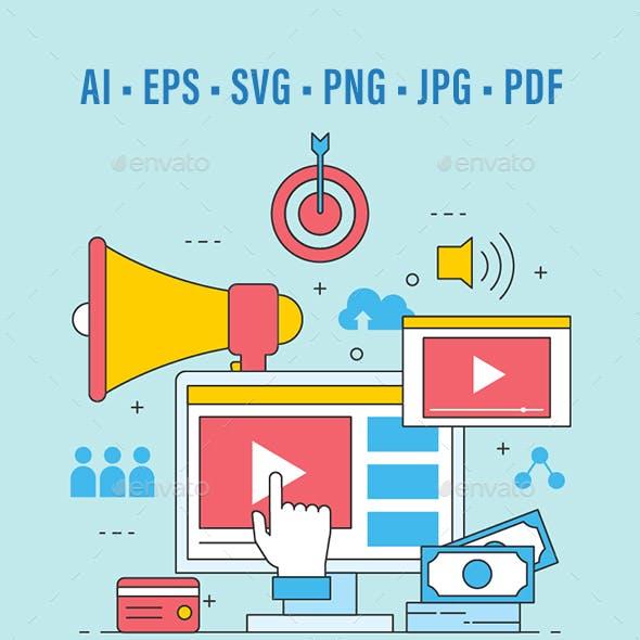 Business Video Marketing Online Flat Design