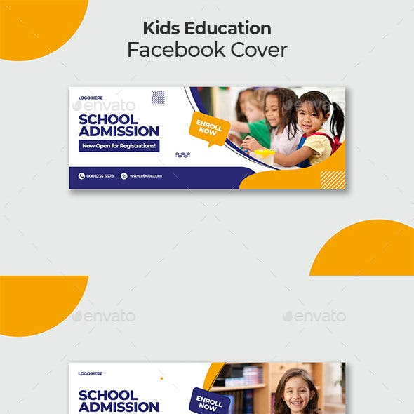 Kids Education Facebook Cover Template
