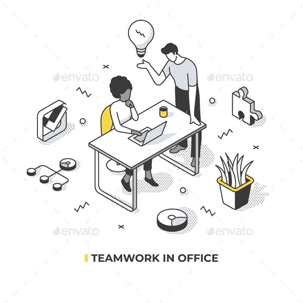 Teamwork in Office Isometric Illustration - Conceptual Vectors