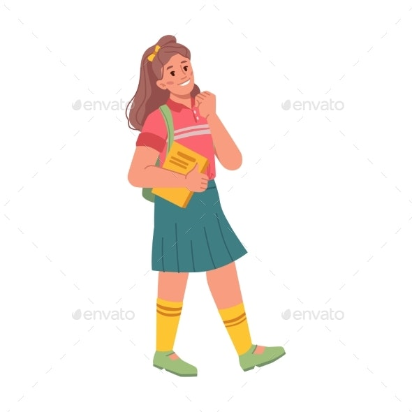 Preteen Girl with Book and Satchel Walk to School - People Characters