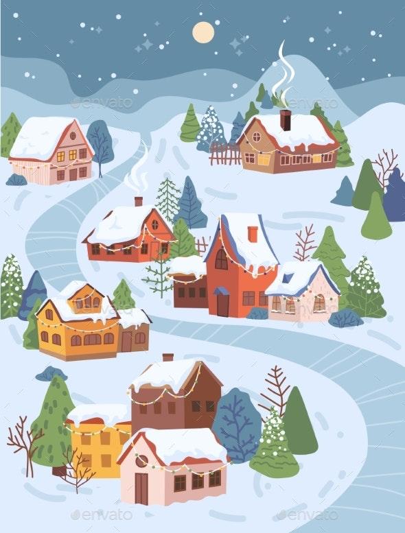 Winter Christmas Landscape at Night Cottage Houses - Landscapes Nature