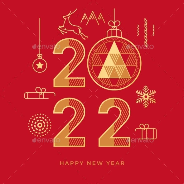 Happy New Year 2022 Abstract Geometry Golden Icons - Seasons/Holidays Conceptual