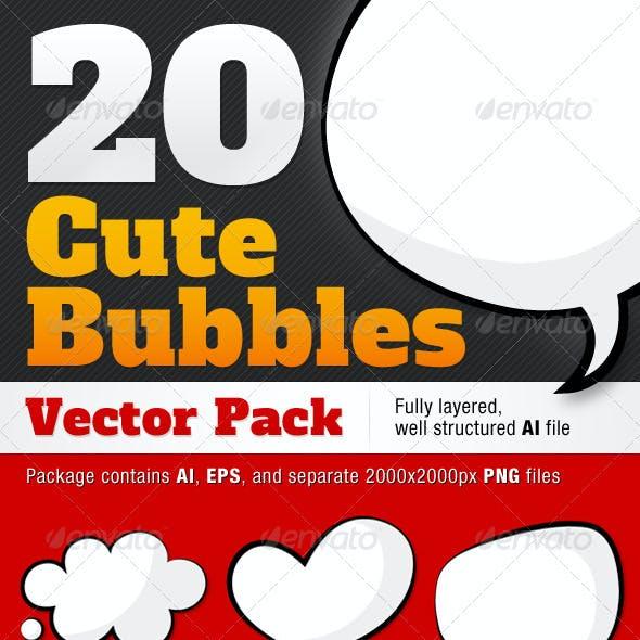20 Cute Comic Style Bubbles Pack