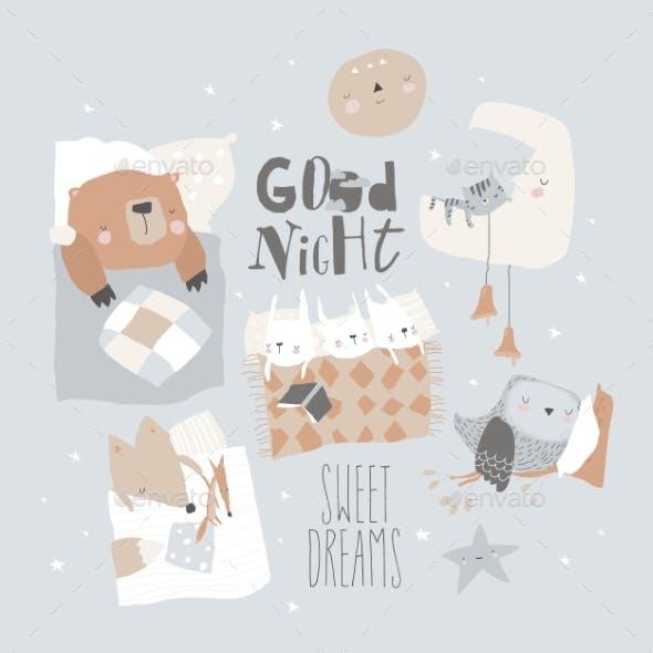 Cute Cartoon Animals Sleeping in Beds