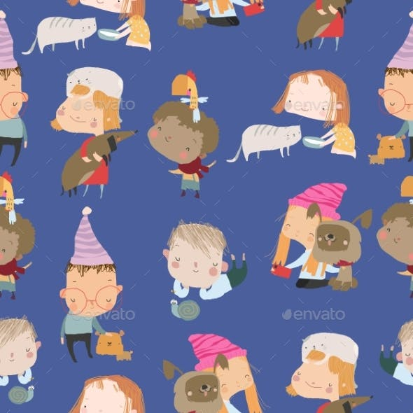 Seamless Pattern with Kids and Pets on Blue