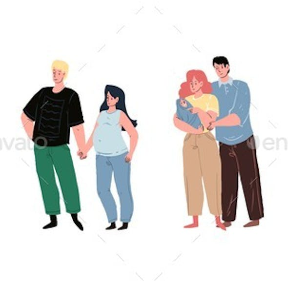Flat Cartoon Characters Future and Young Parents