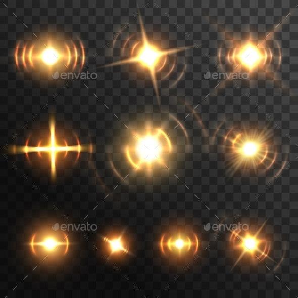 Lens Light Flare Fiery Energy Burst or Headlights - Miscellaneous Vectors