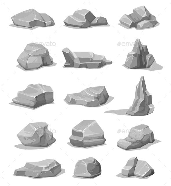 Cartoon Rock Stones and Boulders - Objects Vectors
