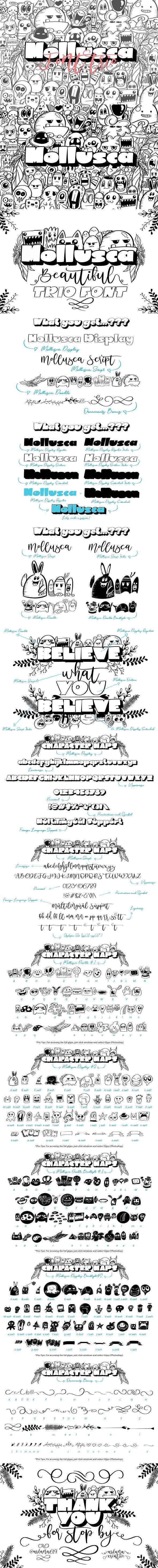 Mollusca Font Trio | Doodle Font - Decorative Fonts