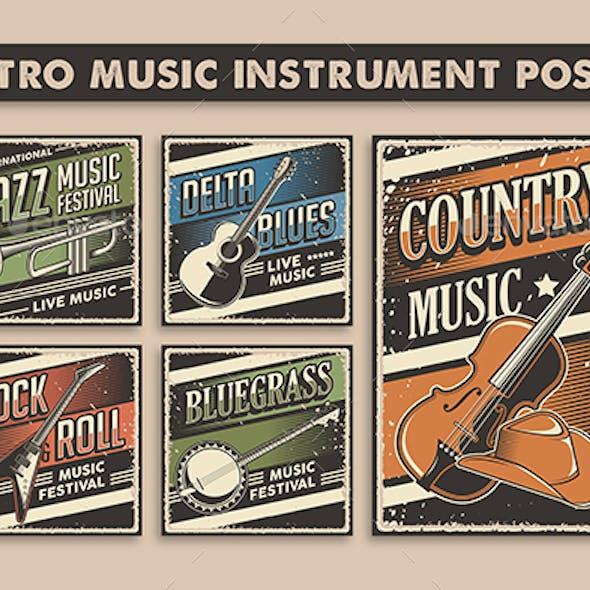 Retro Rustic Music Instrument Poster