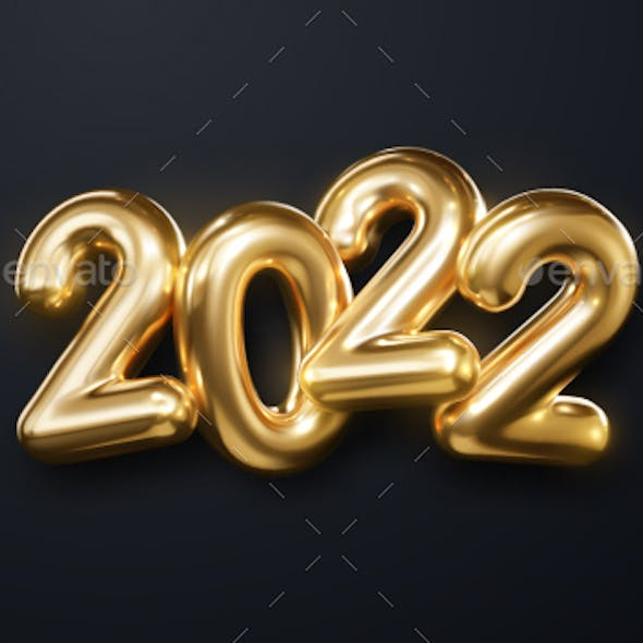 Holiday Vector Illustration of Golden Metallic Numbers 2022