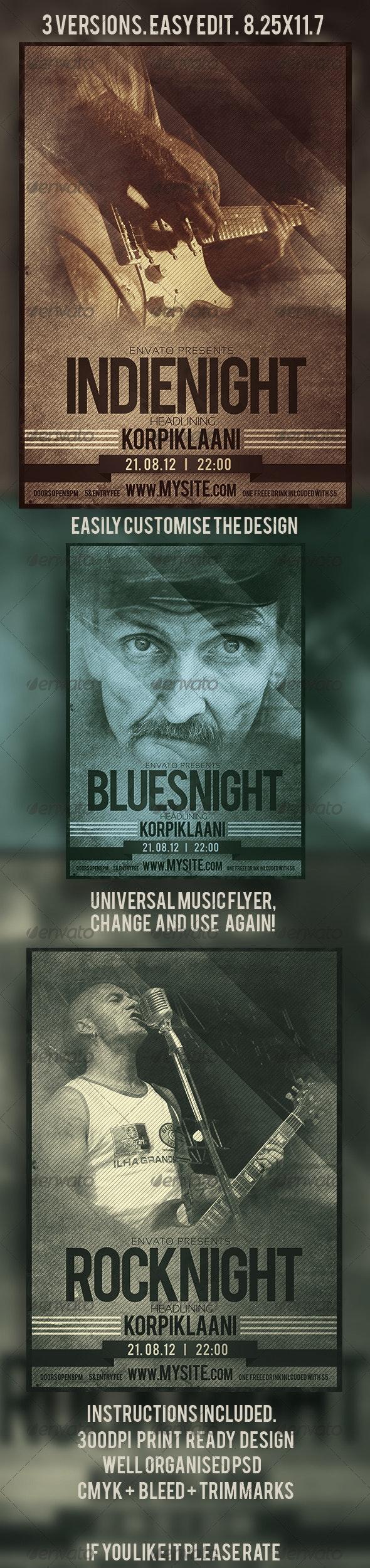 Grunge/Retro Universal Music Flyer - Events Flyers
