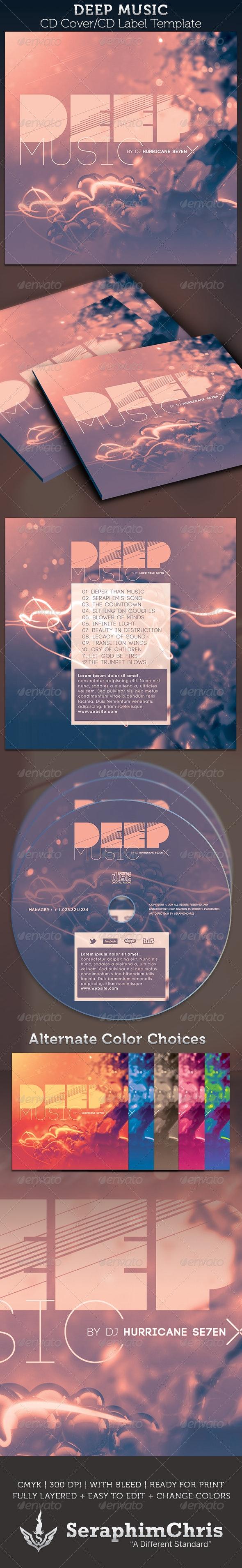 Deep Music: CD Cover Artwork Template - CD & DVD Artwork Print Templates
