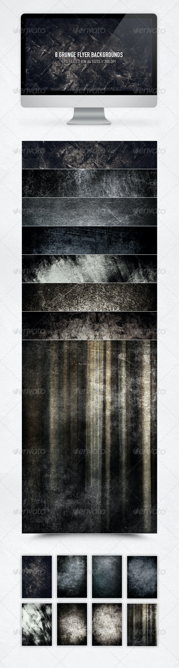8 Hi-Res Grunge Flyer Backgrounds - Miscellaneous Textures
