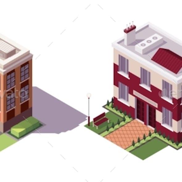 Isometric Educational Buildings Set