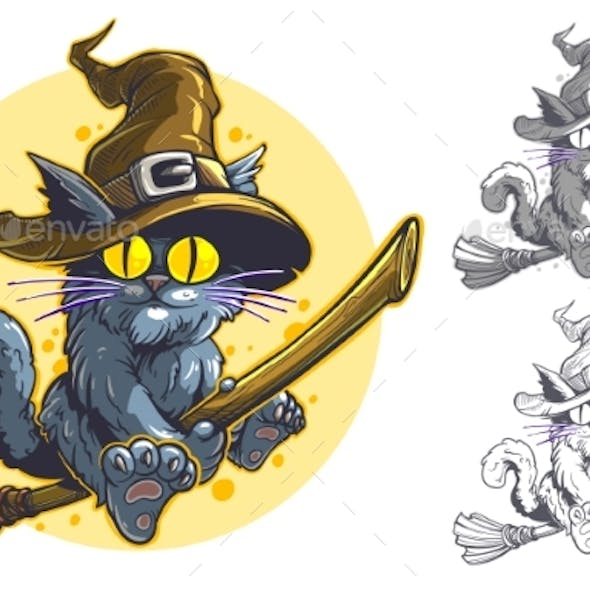Cartoon Funny Halloween Flying Cat in Witch Hat