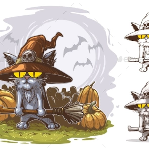 Cartoon Funny Halloween Cat with Witch Broom
