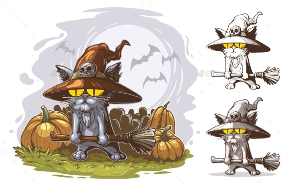 Cartoon Funny Halloween Cat with Witch Broom - Animals Characters