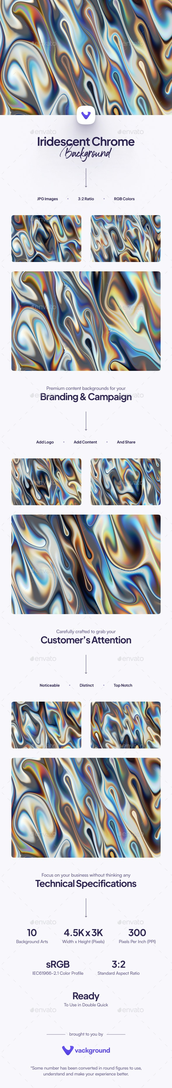 Iridescent Chrome Background - Abstract Backgrounds