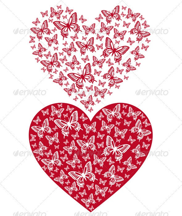 Red Butterfly Heart - Valentines Seasons/Holidays