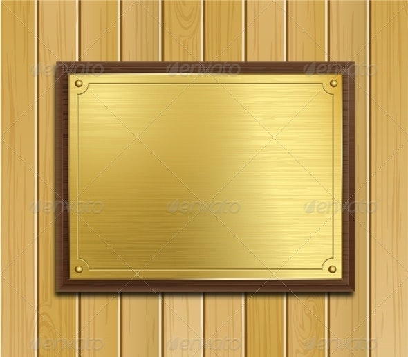 Brass Plaque on Wood Panel Background - Man-made Objects Objects