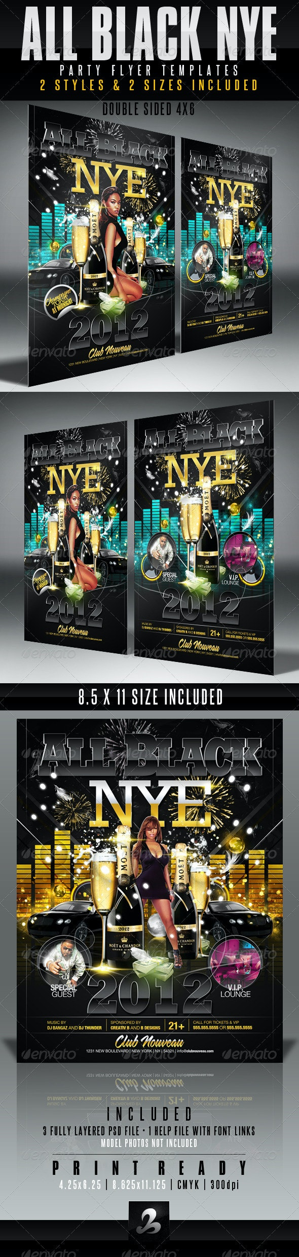 All Black NYE Flyer Templates - Clubs & Parties Events
