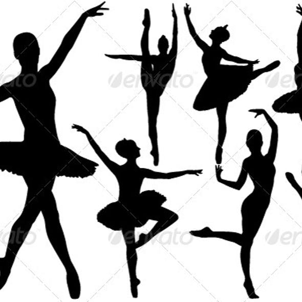 Ballet Female Dancers Silhouettes