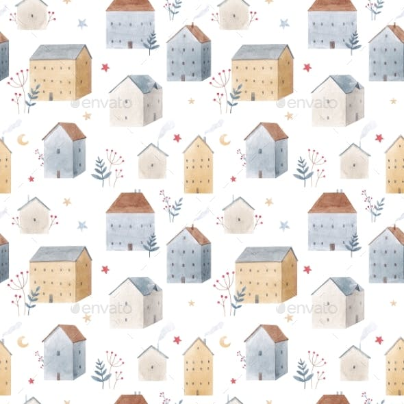 Winter Seamless Pattern with Hand Drawn