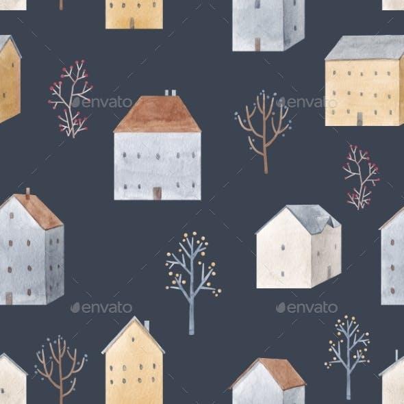 Beautiful Winter Seamless Pattern with Hand Drawn