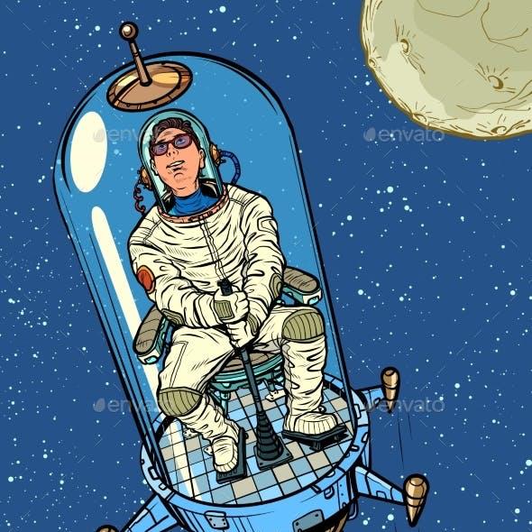 Astronaut Starts on a Retro Rocket Space