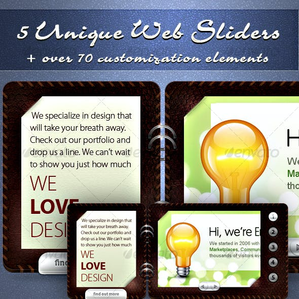 5 Unique Sliders & Over 70 Matching Web Elements