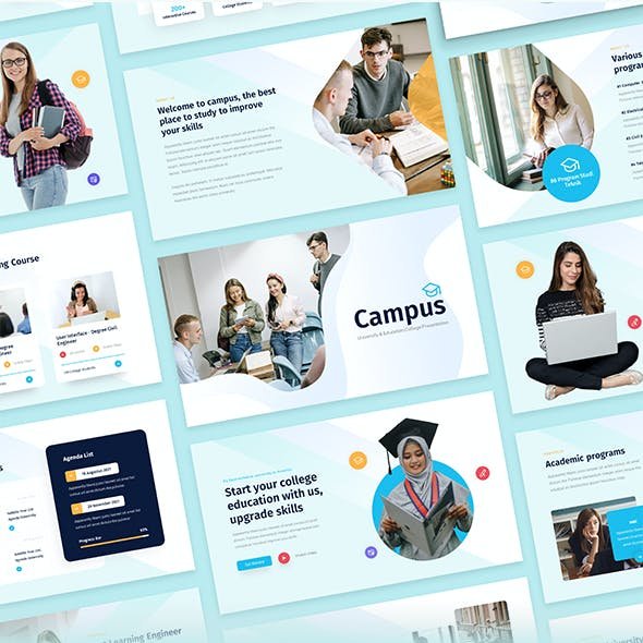 Campus - University & Education College Students PowerPoint Template