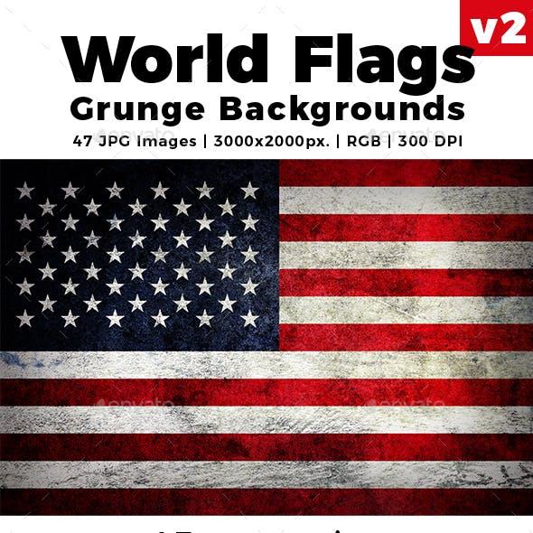 World Flags Grunge Backgrounds Set 2