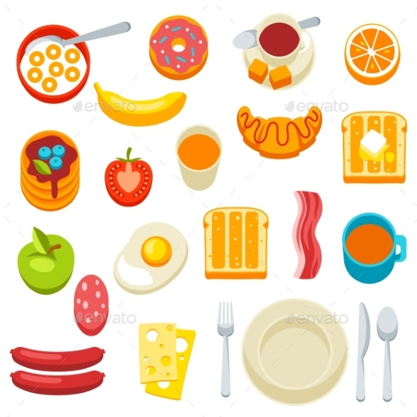 Healthy Breakfast Icons Set - Food Objects