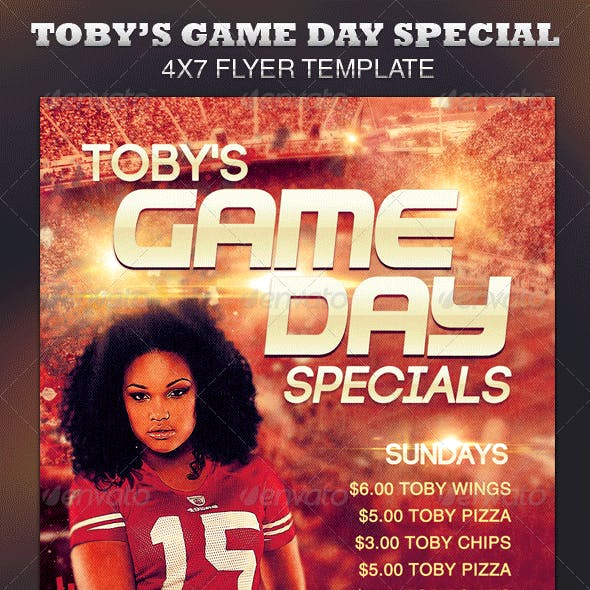 Toby's Game Day Specials Flyer Template