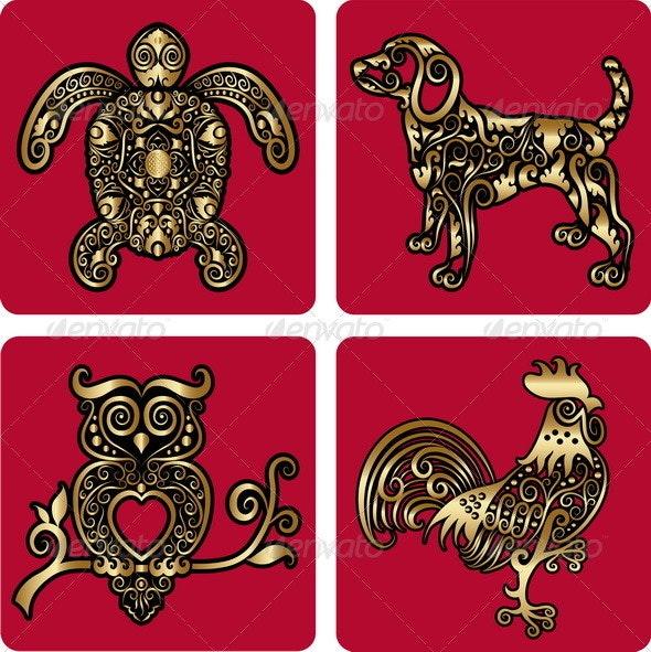 Golden Ornaments (turtle, dog, owl, rooster) - Flourishes / Swirls Decorative