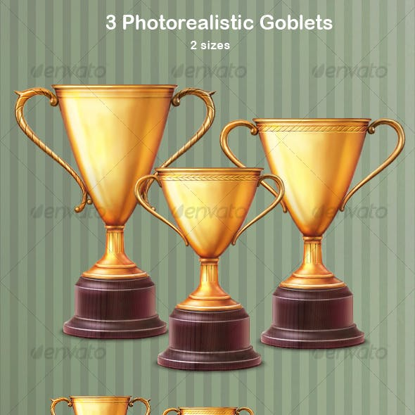 3 Photorealistic Goblets