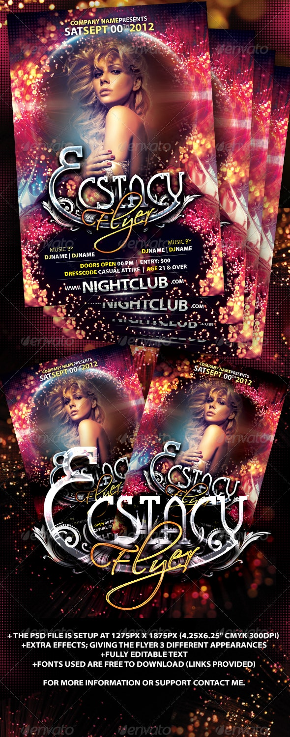 Ecstacy Flyer Template - Clubs & Parties Events