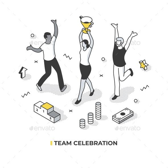 Team Celebration Isometric Illustration - Concepts Business