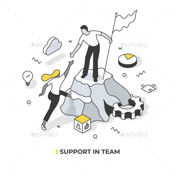 Support in Team Isometric Illustration - Concepts Business