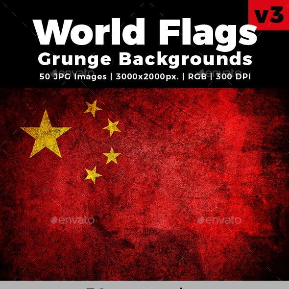 World Flags Grunge Backgrounds Set 3