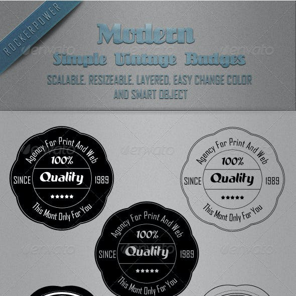 Modern Badges with Stamp and Lineart Style