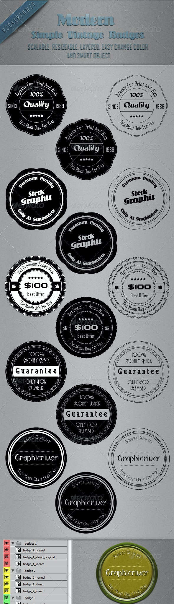 Modern Badges with Stamp and Lineart Style - Badges & Stickers Web Elements